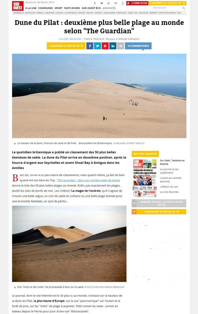 Dune du Pilat   deuxième plus belle plage au monde selon  The Guardian    SudOuest.fr