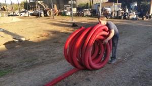 Installation du tuyau.